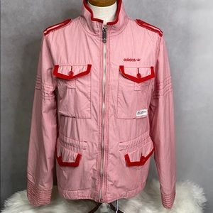 Adidas Women's Red & White Striped Jacket Coat